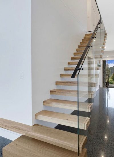 Polished concrete floor with staircase