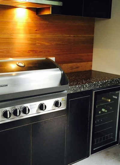 Polished conrete bbq benchtop